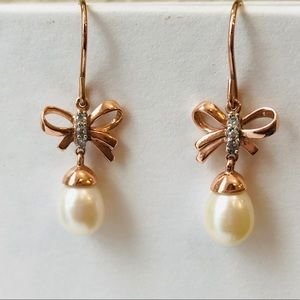 10K Rose Gold and Genuine Pearl Earrings